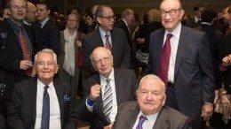 Trilateral Commission Members Pete Peterson, Paul Volker, David Rockefeller and Alan Greenspan - Photo: Brian Stanton