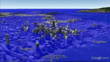 Simulation of San Francisco   with 80 meter rise in ocean  levels.