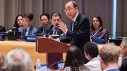 H.E. Mr. Ban Ki-moon, Secretary-General of the United Nations, addresses the chamber. Ministerial Segment of the High-level Political Forum on Sustainable Development Goals Theme in 2016: Ensuring that no one is left behind. (UN Photo/Manual Elias)